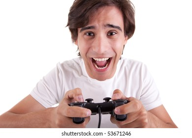 Handsome man, playing with game pad, isolated on white background. Studio shot