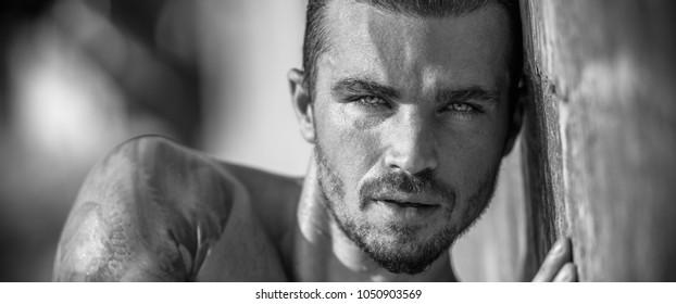 Handsome man portrait in black / white