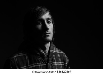 handsome man portrait. black and white photography