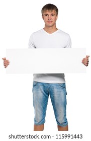 Handsome man portrait with empty white board isolated on white background