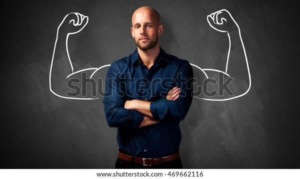 handsome man with power gesture