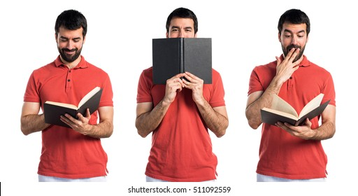 Handsome man reading book