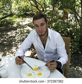 Handsome man in restaurant