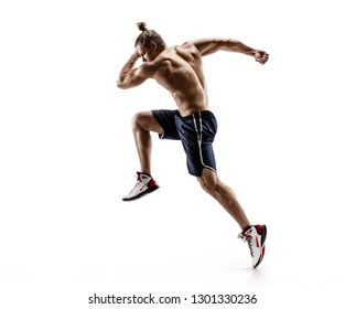 Handsome man runner in silhouette. Photo of shirtless muscular man isolated on white background. Dynamic movement. Side view. Full length