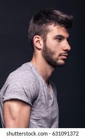 handsome man, side view, portrait, face head shoulders arms muscular