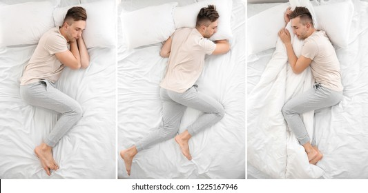 Handsome man sleeping in different positions on bed, top view