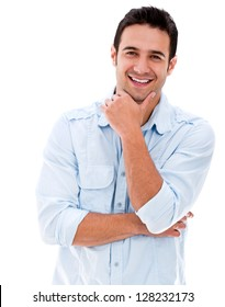 Handsome man smiling looking very happy - isolated over white