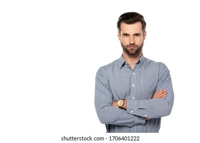 handsome man standing with crossed arms isolated on white