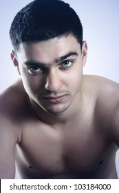 handsome man strict contrast portrait