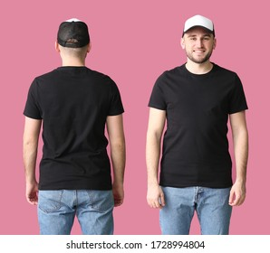 Handsome man in stylish cap on color background. Front and back view