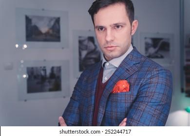 Handsome man in suit, indoors shoot