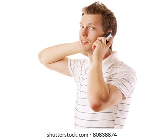 A handsome man is talking on phone on white background