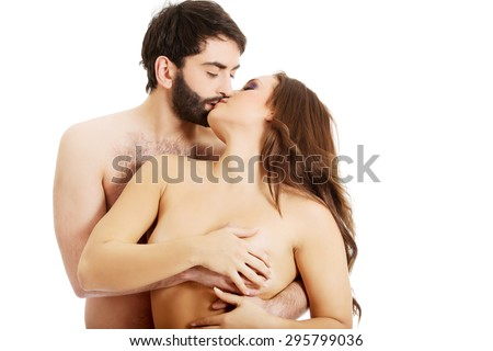 Handsome Man Touching Womans Breast And Kissing
