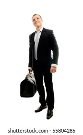 Handsome man with travelling bag. Isolated over white.