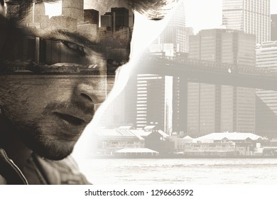 Handsome man and urban skyscraper view , digital art style