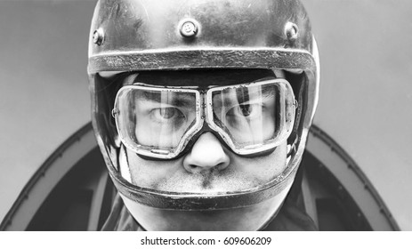 handsome man with usa army or pilot of airplane style helmet and goggles, isolated on white background . close up. Pilot in cockpit
