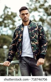 Handsome man wear military jacket