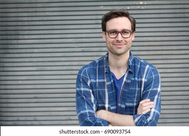 Handsome man wearing glasses portrait with space for copy