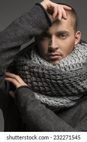 Handsome man wearing scarf