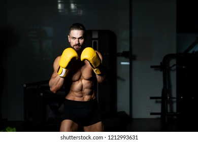 Handsome Man In Yellow Boxing Gloves - Boxing In Gym - The Concept Of A Healthy Lifestyle - The Idea For The Film About Boxing
