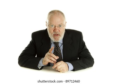 Handsome mature business man is giving important speech on white background