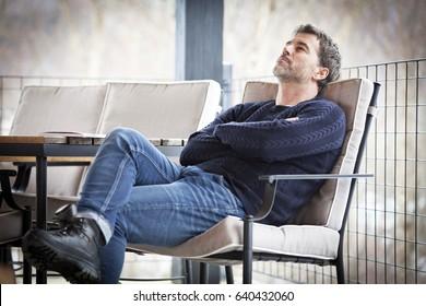Handsome Mature Dreaming.Outside. Sadness. Depression