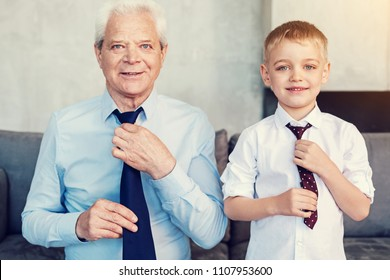 Handsome men. Happy friendly stylish grandfather and his little cheerful grandson wearing fashionable ties before going out