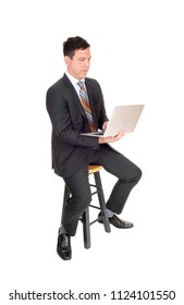 A handsome middle age business man sitting and working with his
