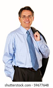 Handsome middle age businessman in shirt and tie carrying jacket