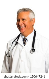 Handsome middle age doctor with lab coat and stethoscope on a white background.