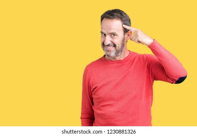 Handsome middle age hoary senior man wearing winter sweater over isolated background Smiling pointing to head with one finger, great idea or thought, good memory