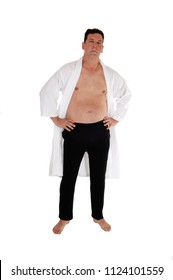 A handsome middle age man standing without shirt in a white 