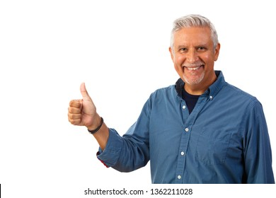 Handsome middle age man studio portrait with a thumbs up gesture isolated on a white background.