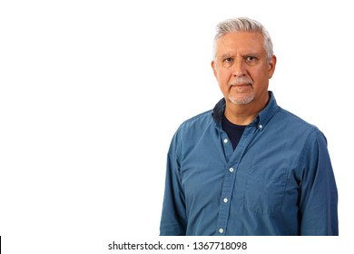 Handsome middle age man studio portrait isolated on a white background.