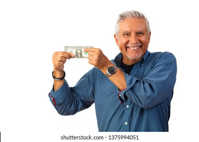 Handsome middle age man studio portrait holding a one dollar bill isolated on a white background.