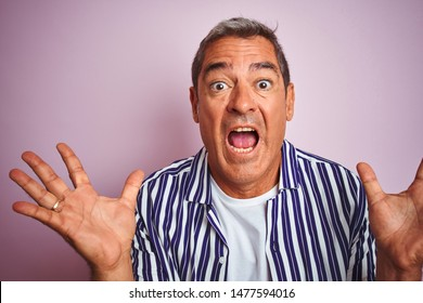 Handsome middle age man wearing striped shirt standing over isolated pink background very happy and excited, winner expression celebrating victory screaming with big smile and raised hands