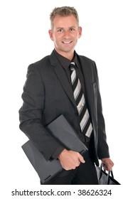 Handsome middle aged businessman smiling.  Studio white background