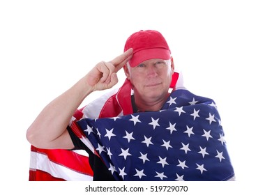 A handsome middle aged patriotic American white male poses with the American flag. Isolated on white with room for your text.