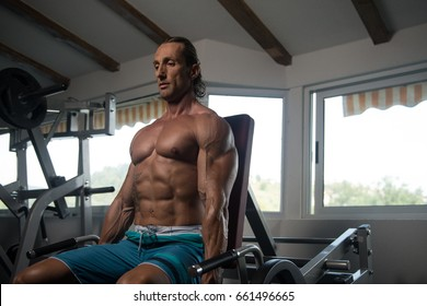 Handsome Muscular Fitness Bodybuilder Doing Heavy Weight Exercise For Trapezius On Machine In The Gym