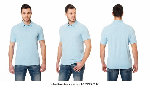 A handsome, muscular guy in a blue Polo shirt. Template Polo t-shirts. Front view, side view, back view