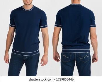 A handsome muscular guy in a blue t shirt. Mockup of a template of a blue man's t-shirt on a white background. Front view, rear view.