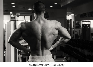 Handsome muscular guy in the gym