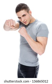 handsome muscular man boxing