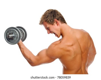 Handsome muscular man straining while doing his bicep exercise
