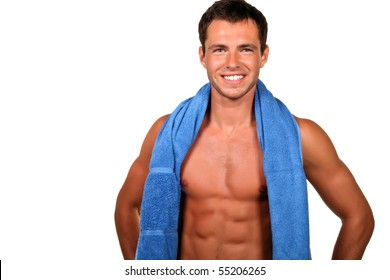 Handsome muscular man with the towel.