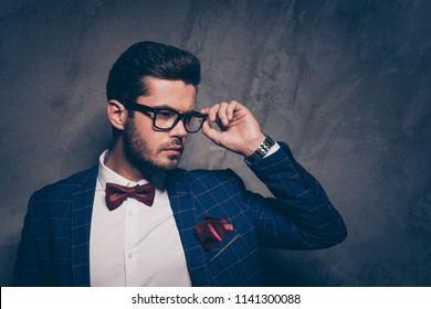 Handsome people person expensive wealthy rich lifestyle concept. Close up photo portrait of handsome attractive serious clever glamorous imposing gentleman adjusting glasses isolated grey background