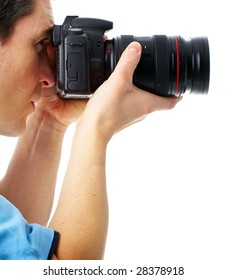 Handsome photographer man with photo camera. Isolated over white background