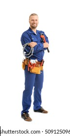 Handsome plumber with pipe wrench and flexible hose isolated on white