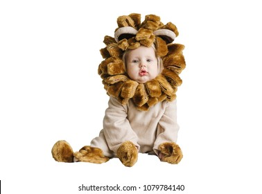 Handsome plump little baby in a lion costume. Little boy in animal costume isolated on white background
