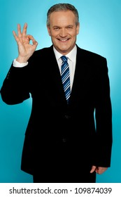 Handsome portrait of experienced businessman showing okay sign over gradient background